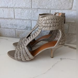 GIVENCHY taupe woven leather heels